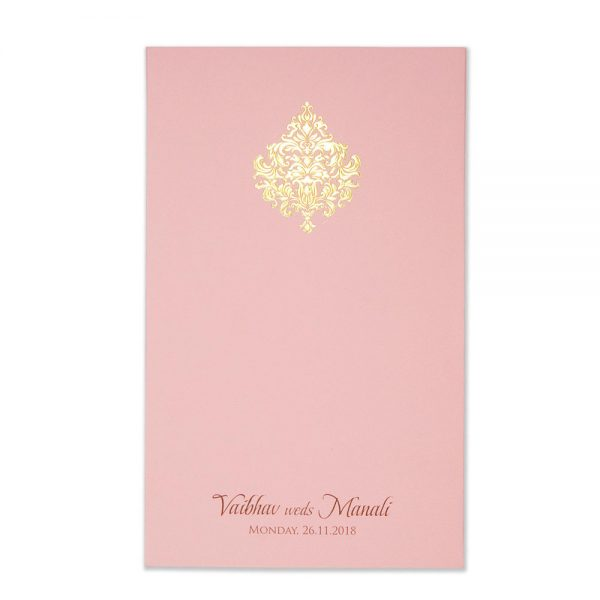damask wedding invitation card