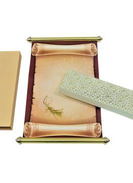 brown scroll card