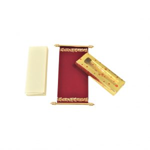 maroon color scroll card