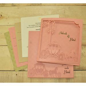 pink colour wedding card