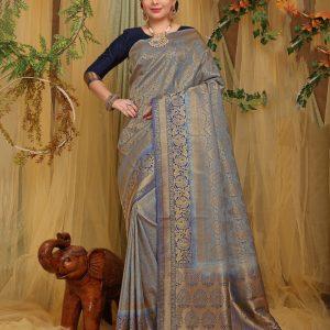 navy blue silk saree