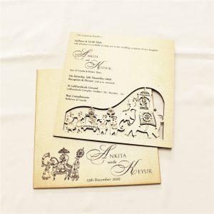 wodden wedding card