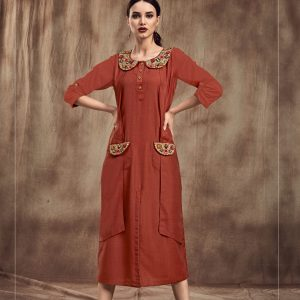 rust red color kurti