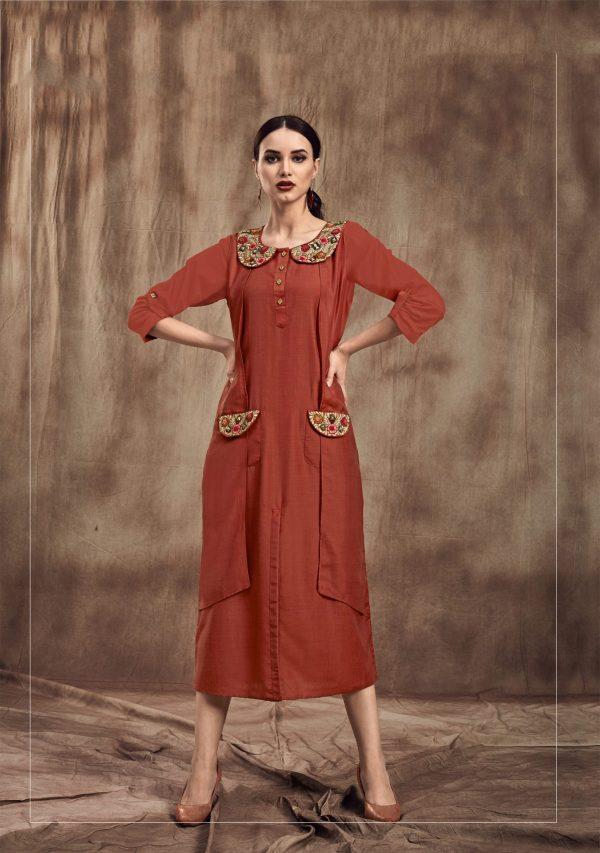 rust red color kurti