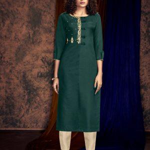 teal green kurti