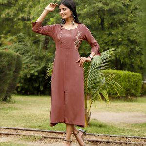 rust brown color kurti