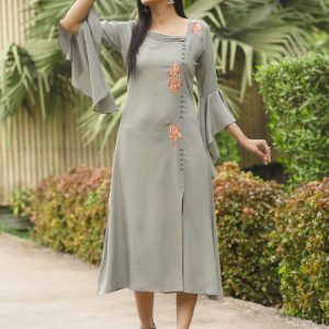 teal grey color kurti