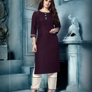 wine red color kurti
