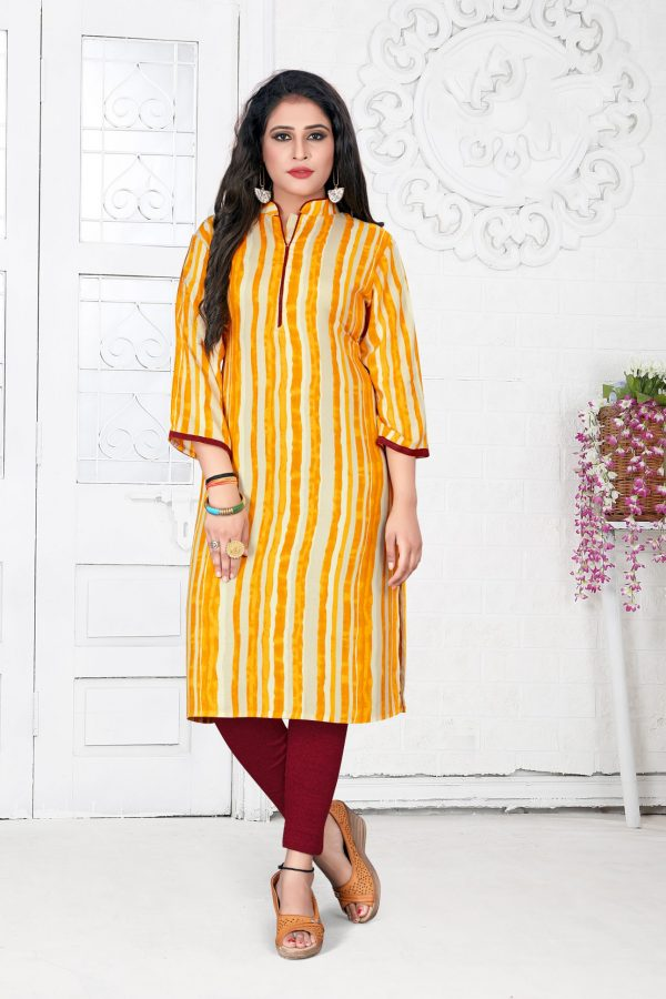 yellow & cream color kurti