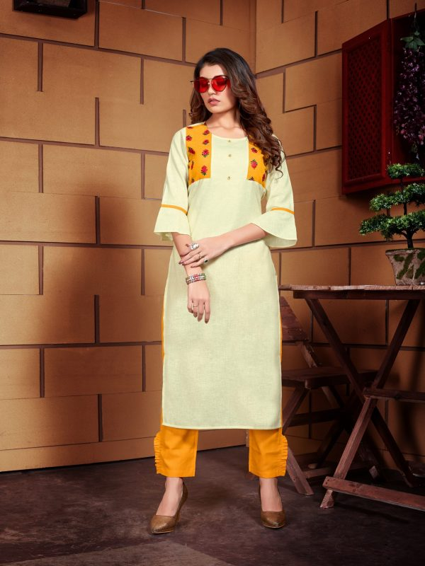 light yellow color kurti