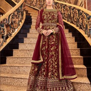 maroon color salwar