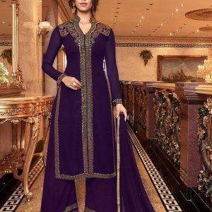 violet color plazzo suit