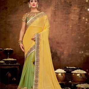 yellow green color saree
