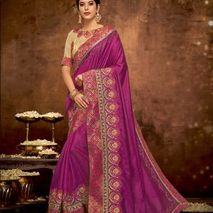 magenta pink color saree