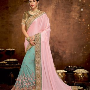 blue and pink color saree