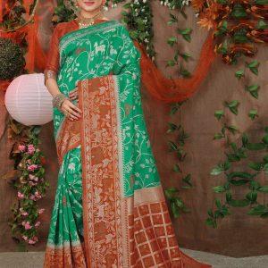sea green color saree