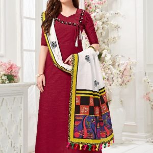 maroon color gown