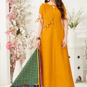 mustard yellow color gown