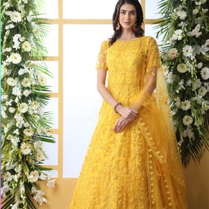 yellow color gown