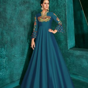 blue color gown