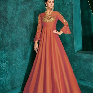 rust orange color gown