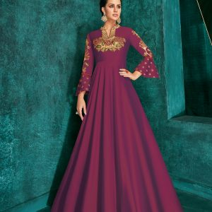 magenta pink color gown