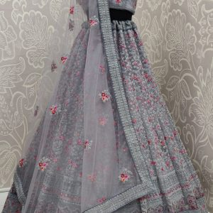 grey color lehenga