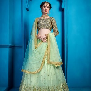 pastel green color lehenga