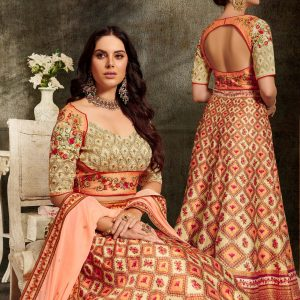 beige & orange color lehenga