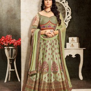 mint green color lehenga