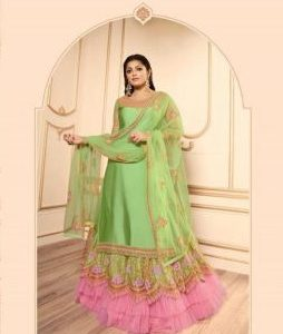 pink & light green color lehenga