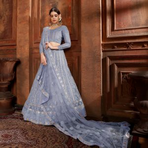 powder blue color lehenga