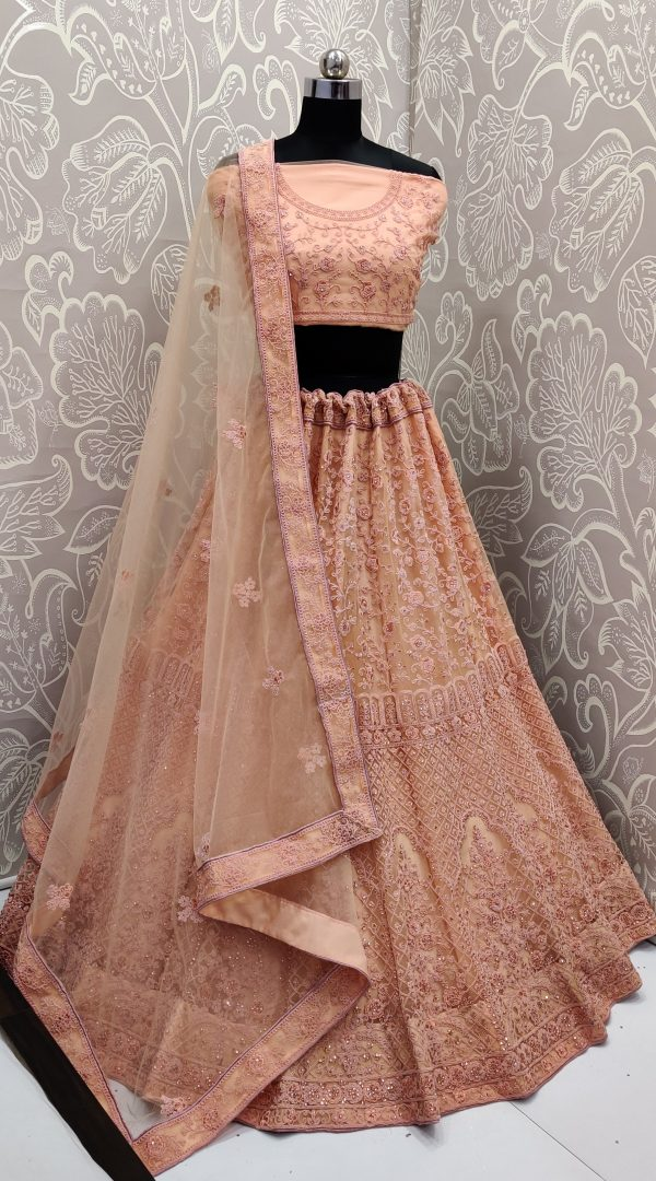 peach color lehenga