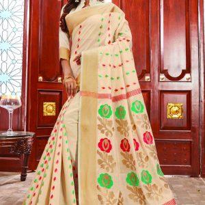 cream color saree