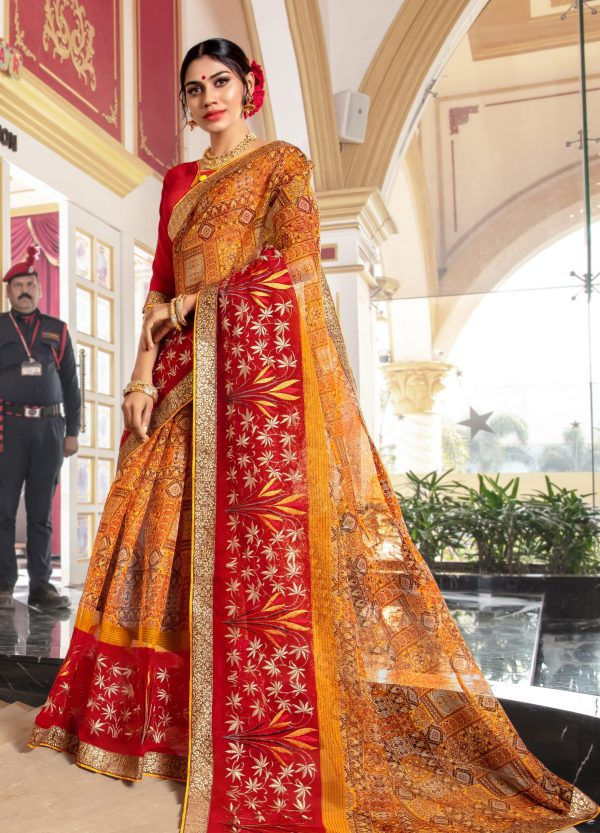 red &yellow color saree