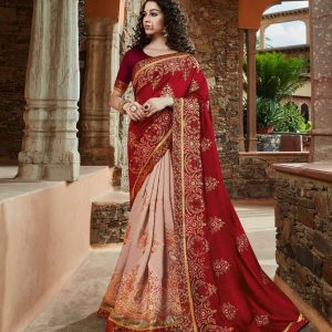 red & baby pink color saree