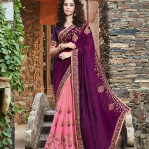 purple & pink color saree