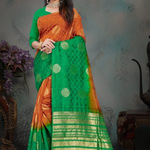 rust orange & green color saree