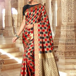 red & black color saree