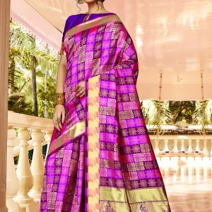 dark pink & purple color saree