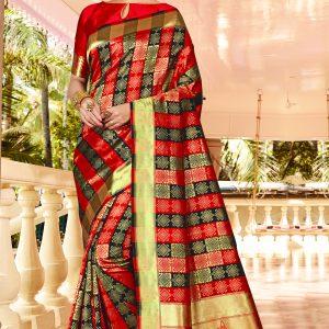 red & black color saree