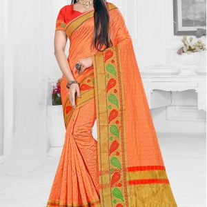 orange color saree