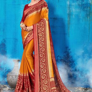 mustard yellow color saree