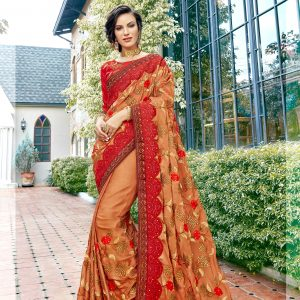beige & red color saree