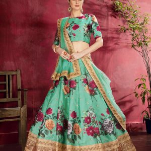 sea green color lehenga