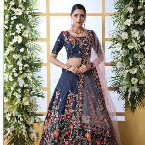 navy blue color lehenga