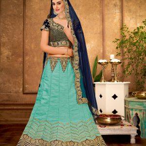 turquoise blue color lehenga