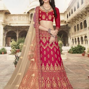 dark pink color lehenga