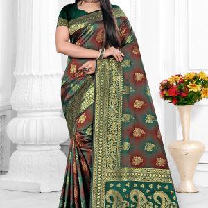 green & maroon color saree