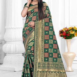 teal green color saree